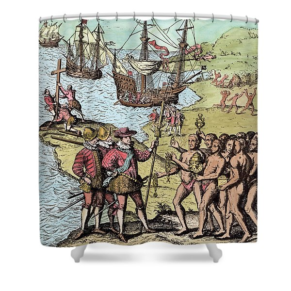 Columbus At Hispaniola, From The Narrative And Critical History Of America, Edited By Justin Shower Curtain