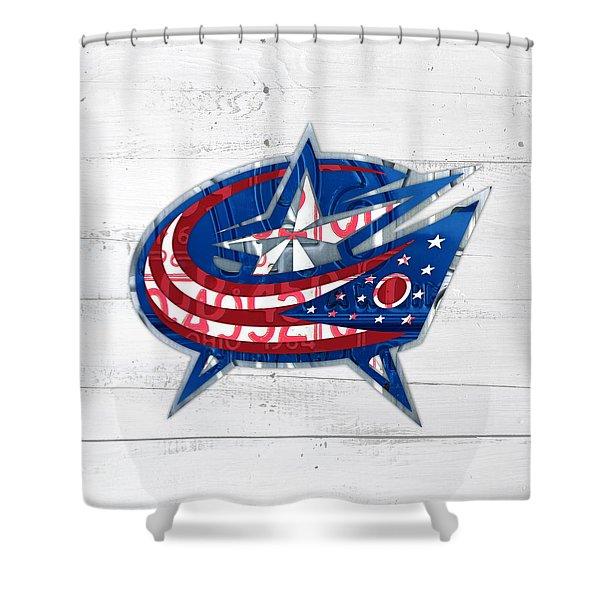 Columbus Bluejackets Retro Hockey Team Logo Recycled Ohio License Plate Art Shower Curtain