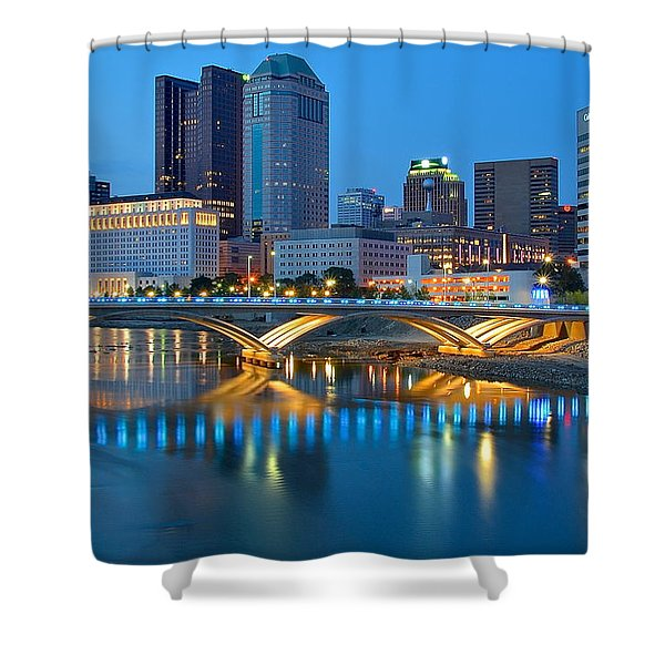 Columbus Ohio Blue Hour Shower Curtain