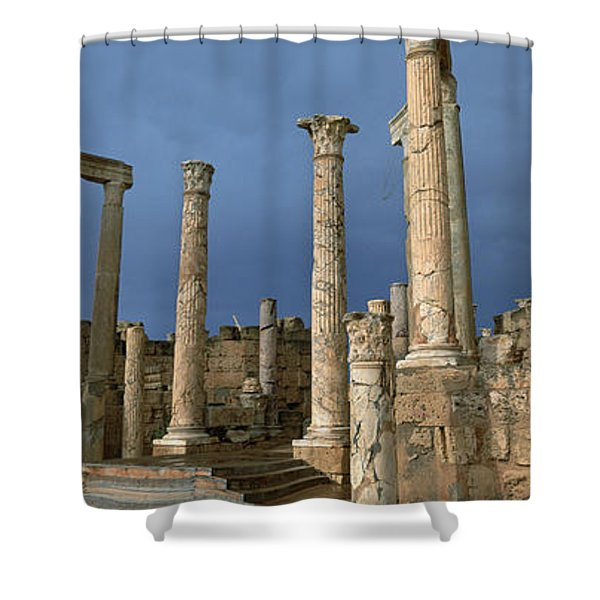 Columns Of Buildings In An Old Ruined Shower Curtain