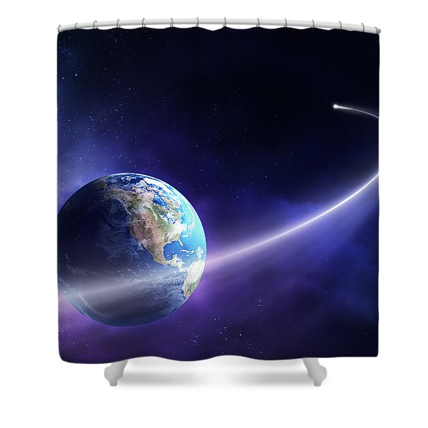 Comet Moving Past Planet Earth Shower Curtain