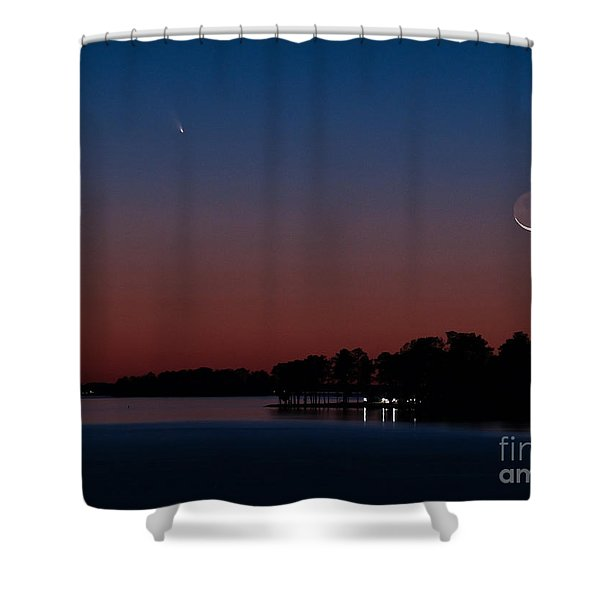 Comet Panstarrs And Crescent Moon Shower Curtain