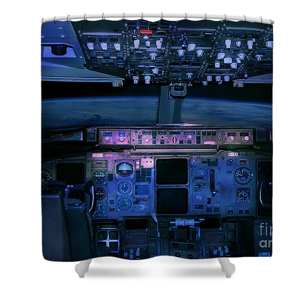Shower Curtain featuring the photograph Commercial Airplane Cockpit By Night by Gunter Nezhoda