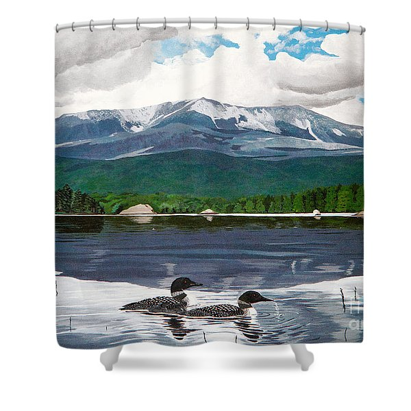 Common Loon On Togue Pond By Mount Katahdin Shower Curtain