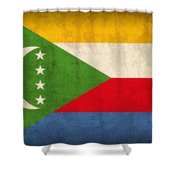Comoros Flag Vintage Distressed Finish Shower Curtain