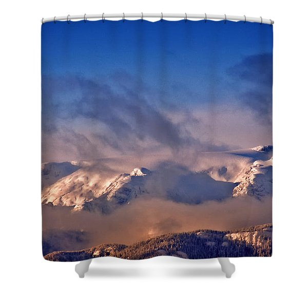 Comox Glacier And Morning Mist Shower Curtain