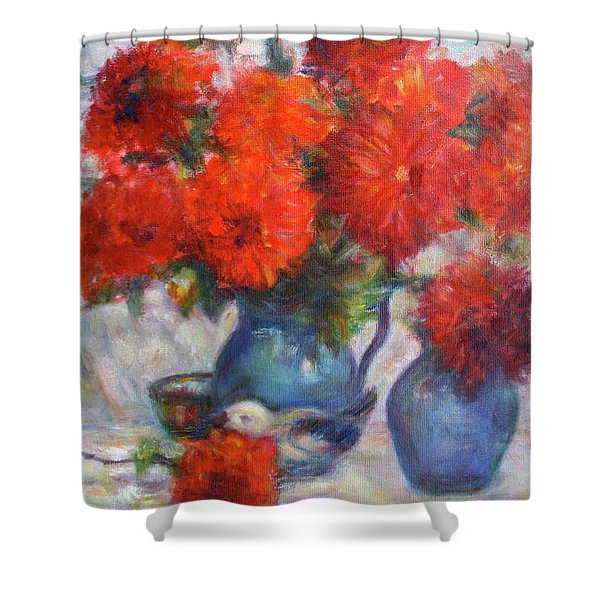 Complementary - Original Impressionist Painting - Still-life - Vibrant - Contemporary Shower Curtain