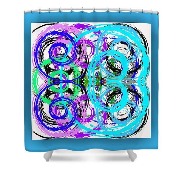 Shower Curtain featuring the digital art Composition - Turquoise by Mihaela Stancu