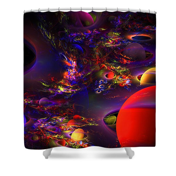 Computer Generated Abstract Fractal Flame Modern Art Shower Curtain