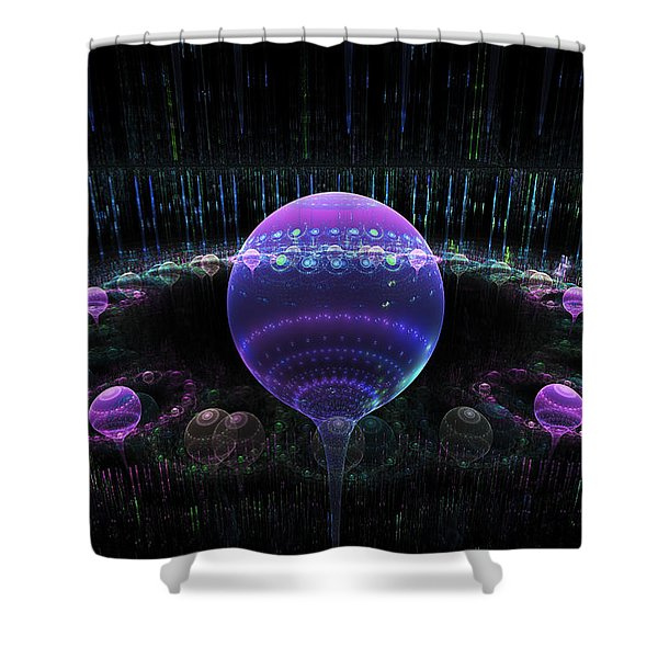 Computer Generated Blue Purple Abstract Fractal Flame Black Background Shower Curtain