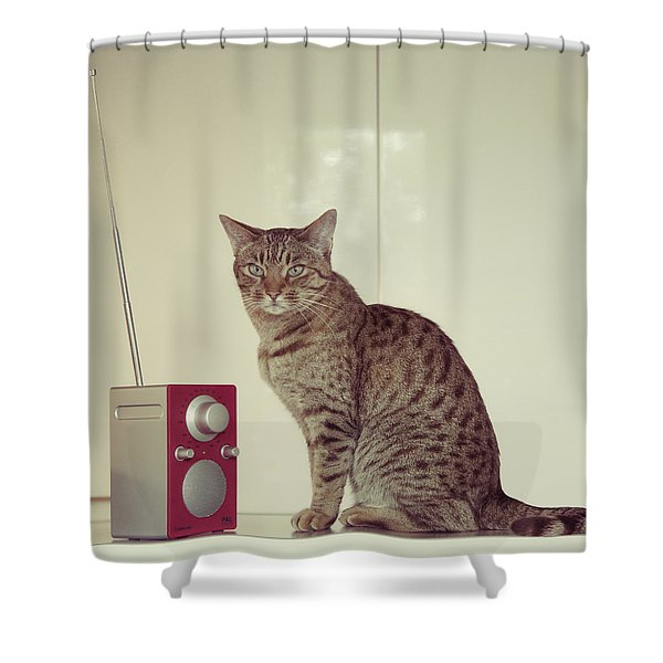 Concentrated Listener Shower Curtain