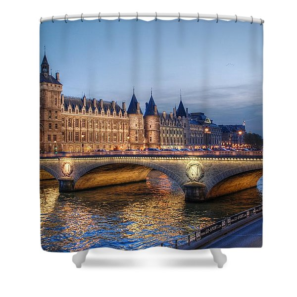 Conciergerie And Pont Napoleon At Twilight Shower Curtain