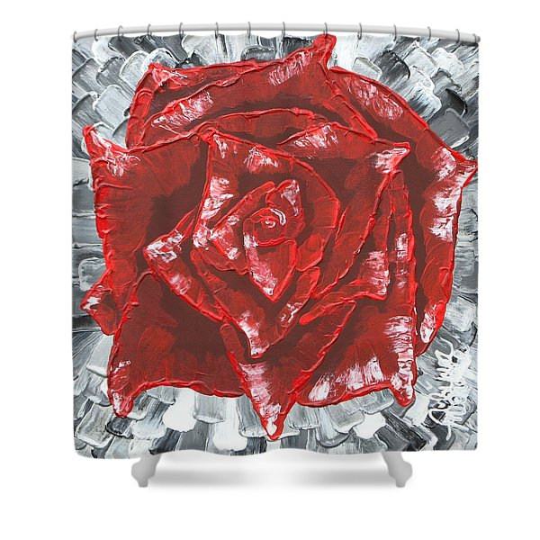 Concrete Rose  Shower Curtain