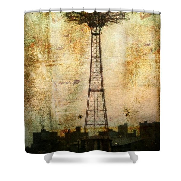 Coney Island Eiffel Tower Shower Curtain
