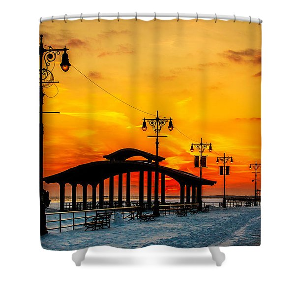 Coney Island Winter Sunset Shower Curtain