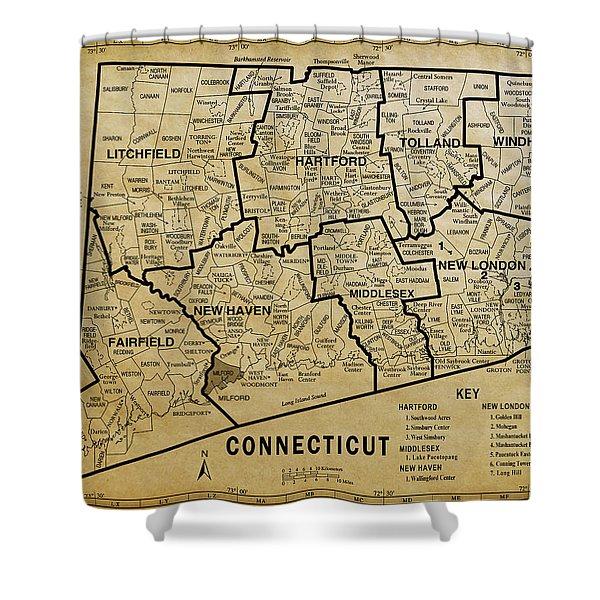 Connecticut On Aged Parchment Map Shower Curtain
