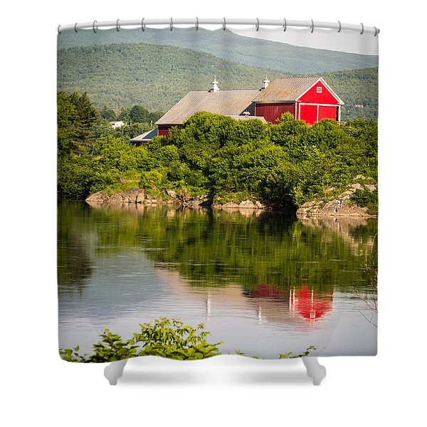 Shower Curtain featuring the photograph Connecticut River Farm by Edward Fielding