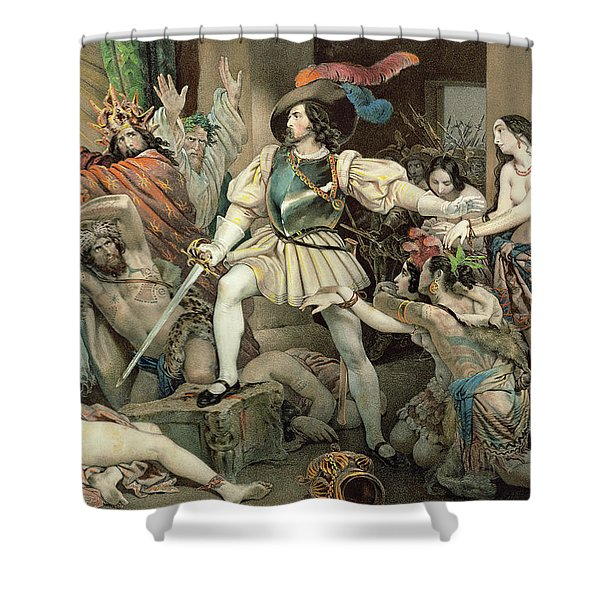 Conquest Of Mexico Hernando Cortes Shower Curtain