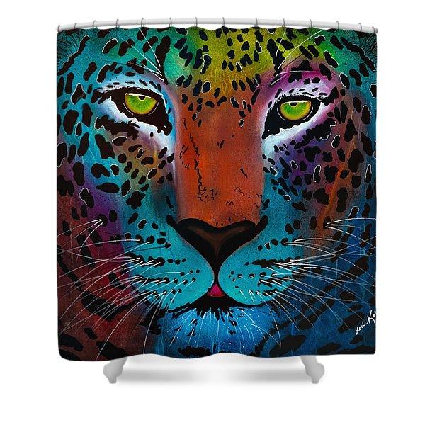 Content Leopard Shower Curtain