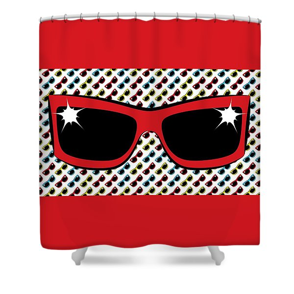 Cool 90's Sunglasses Red Shower Curtain