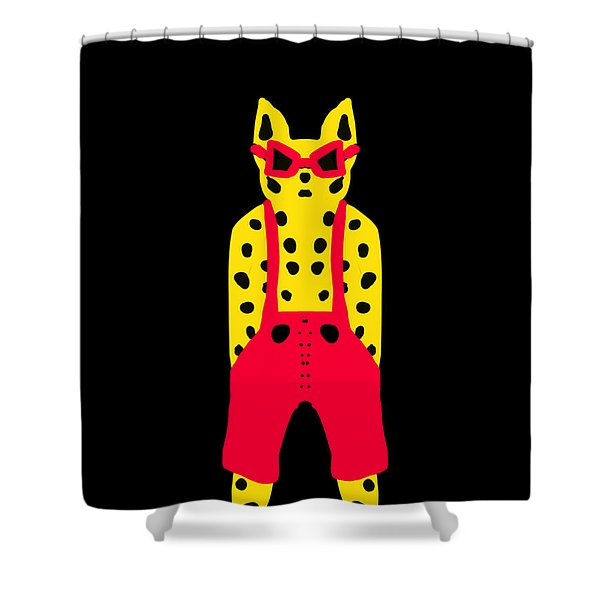 Cool For Cats In Red Dungarees Shower Curtain