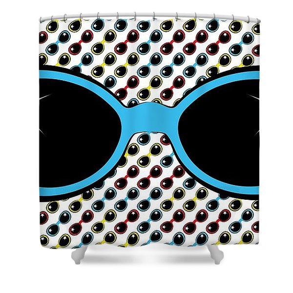 Cool Retro Blue Sunglasses Shower Curtain