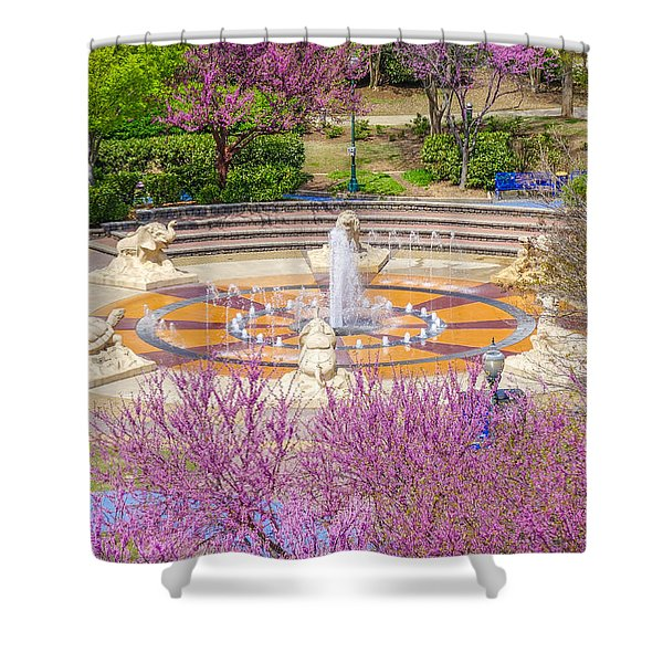 Coolidge Park Fountain In Spring Shower Curtain