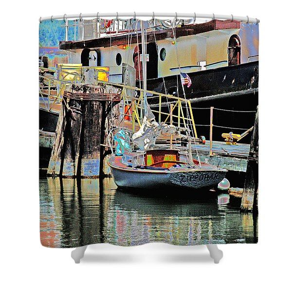 Coos Bay Harbor Shower Curtain