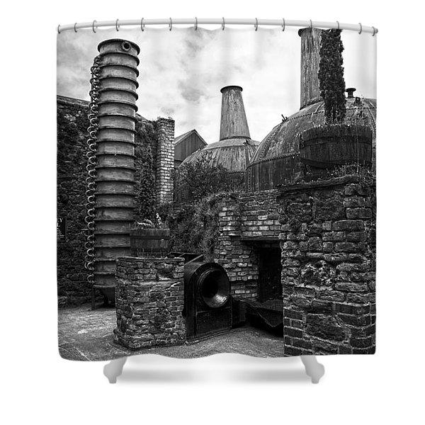 Copper Pot Stills And Column Still At Lockes Distillery Bw Shower Curtain