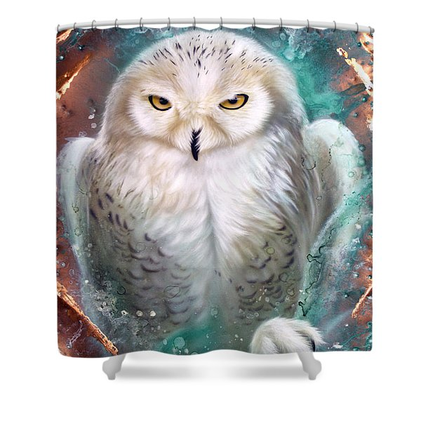Copper Snowy Owl Shower Curtain