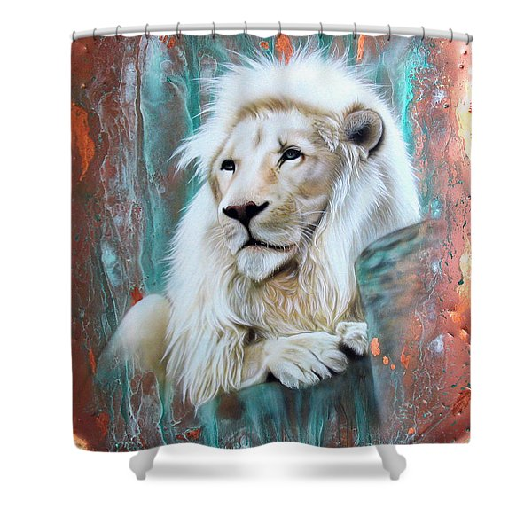 Copper White Lion Shower Curtain