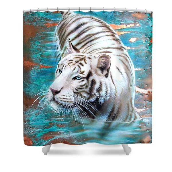 Copper White Tiger Shower Curtain