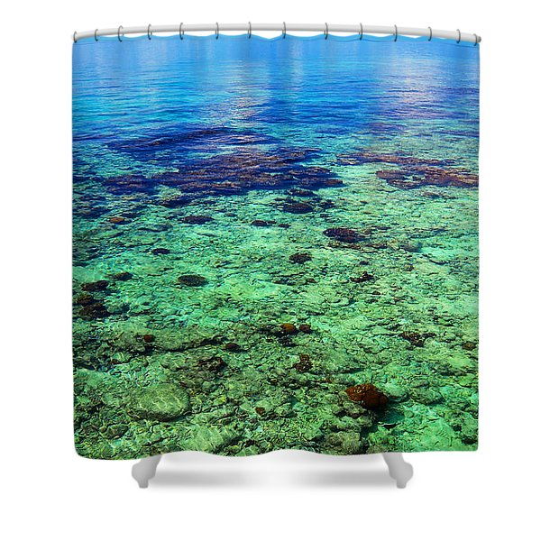 Coral Reef Near The Island At Peaceful Day. Maldives Shower Curtain