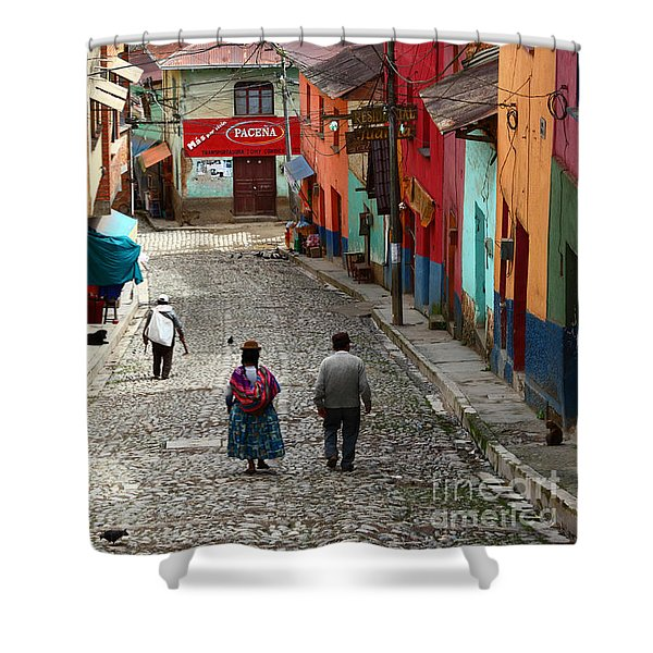 Coroico Street Scene Shower Curtain