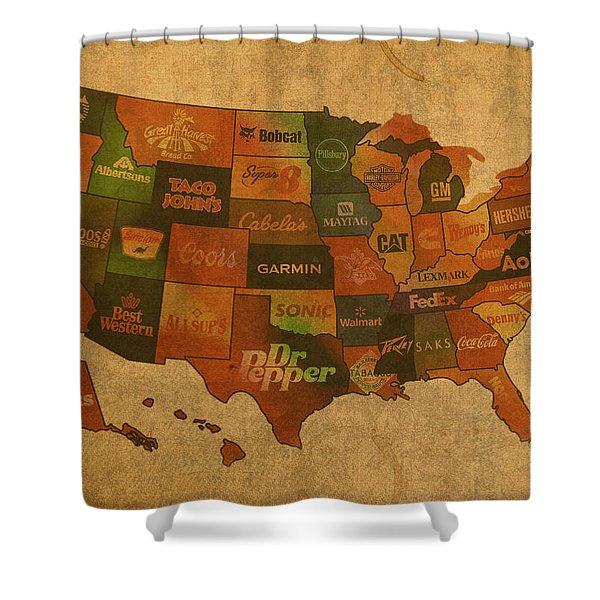 Corporate America Map Shower Curtain