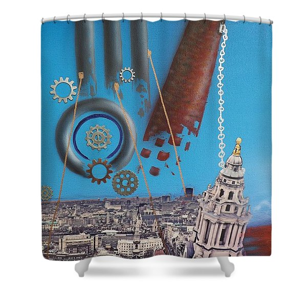 Corporate Greed Shower Curtain