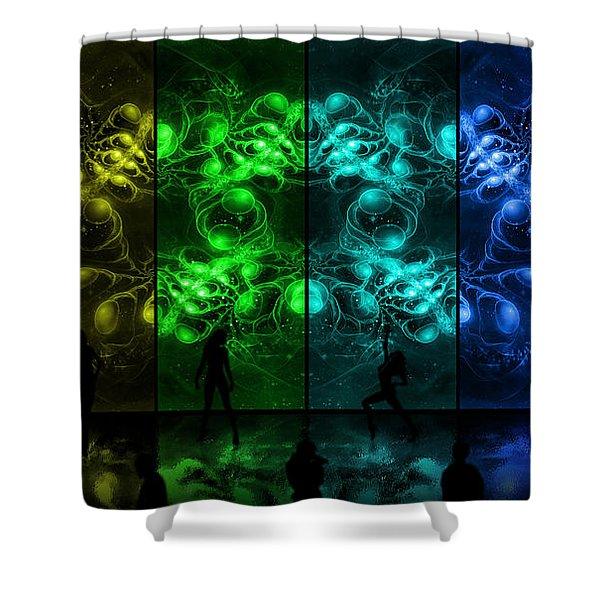 Cosmic Alien Vixens Pride Shower Curtain