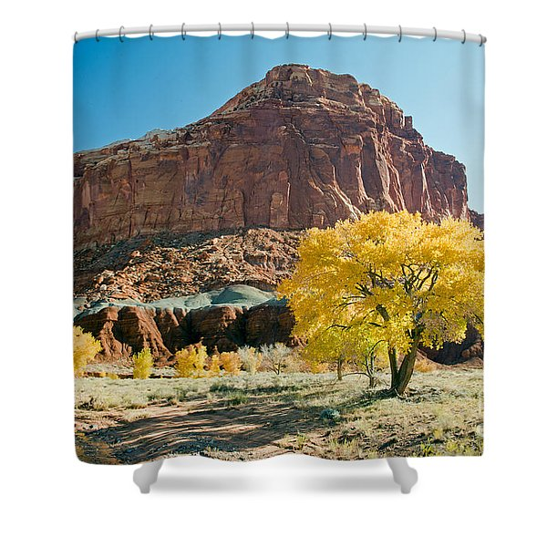 Cottonwoods In Fall The Castlecapitol Reef National Park Shower Curtain