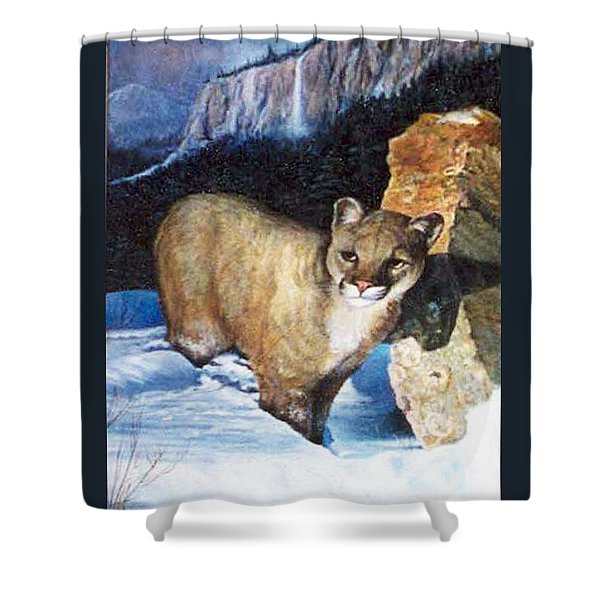 Cougar In Snow Shower Curtain
