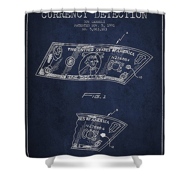 Counterfeit Currency Detection Patent From 1991 - Navy Blue Shower Curtain
