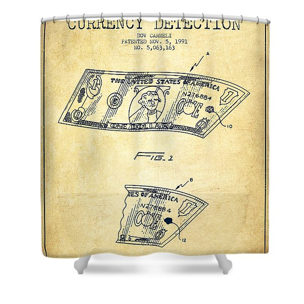 Counterfeit Currency Detection Patent From 1991 - Vintage Shower Curtain