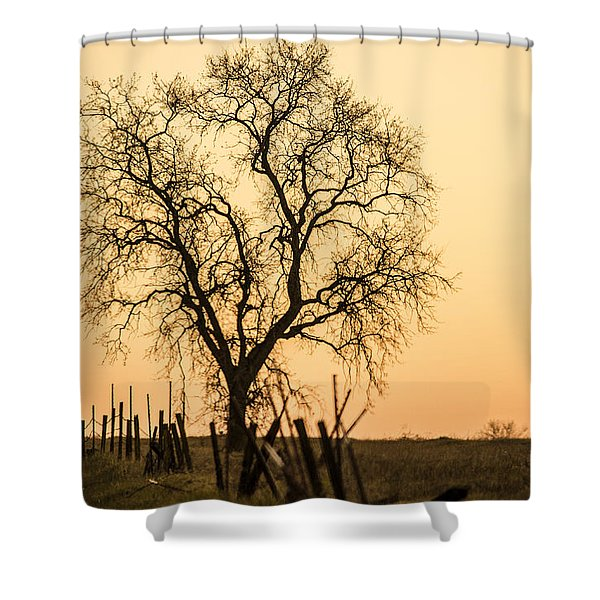 Country Fence Sunset Shower Curtain