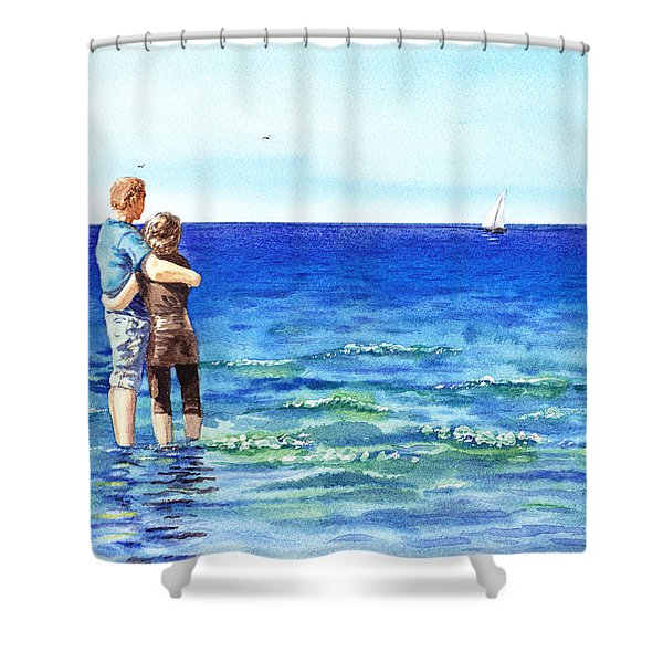 Couple And The Sea Shower Curtain