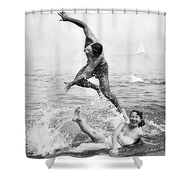 Couple Frolics In The Surf Shower Curtain
