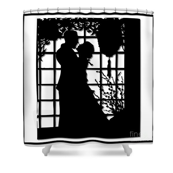 Couple In Love Silhouette Shower Curtain