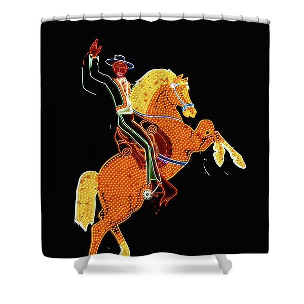 Cowboy And Horse Neon Sign Shower Curtain