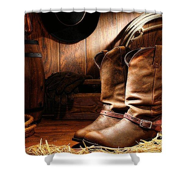 Cowboy Boots In A Ranch Barn Shower Curtain