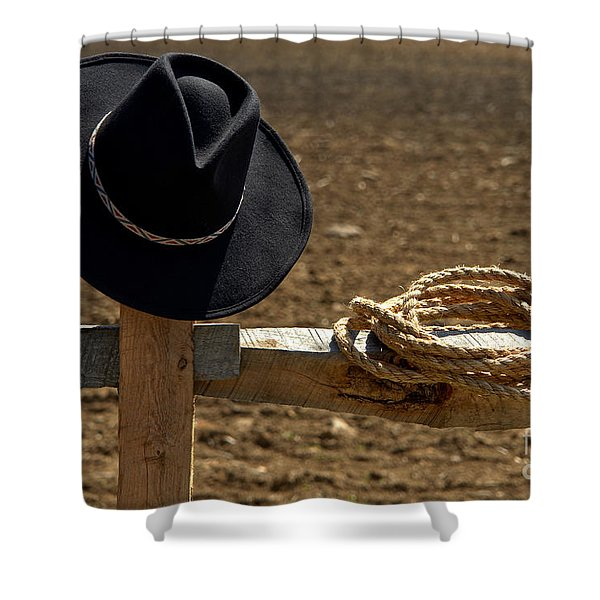 Cowboy Hat And Rope On Fence Shower Curtain