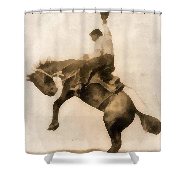 Cowboy On Bucking Bronco Shower Curtain