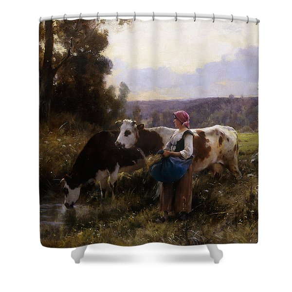 Cows At The Watering Hole Shower Curtain